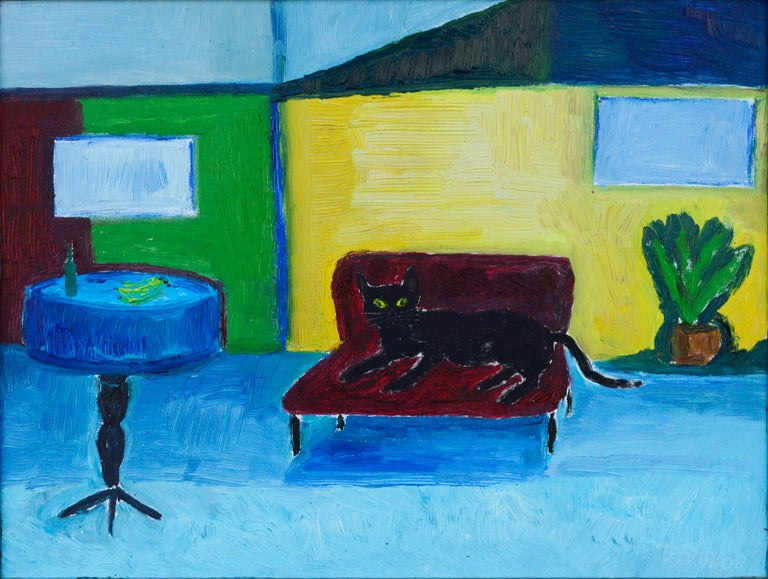 Red Couch, Black Cat - Fauvist Interior Scene  - Painting by Jonathan Taylor