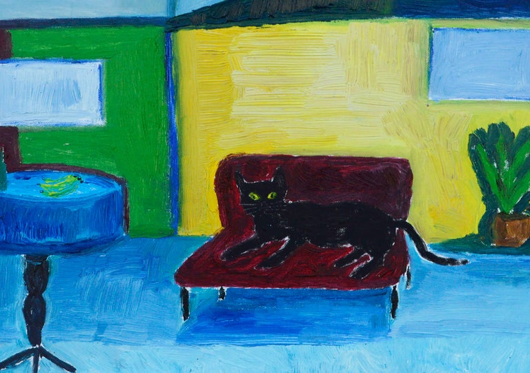 Colorful Fauvist interior scene of a black cat lounging on a red couch in a brightly hued room, by Jonathan Taylor (American, b.1966). Signed