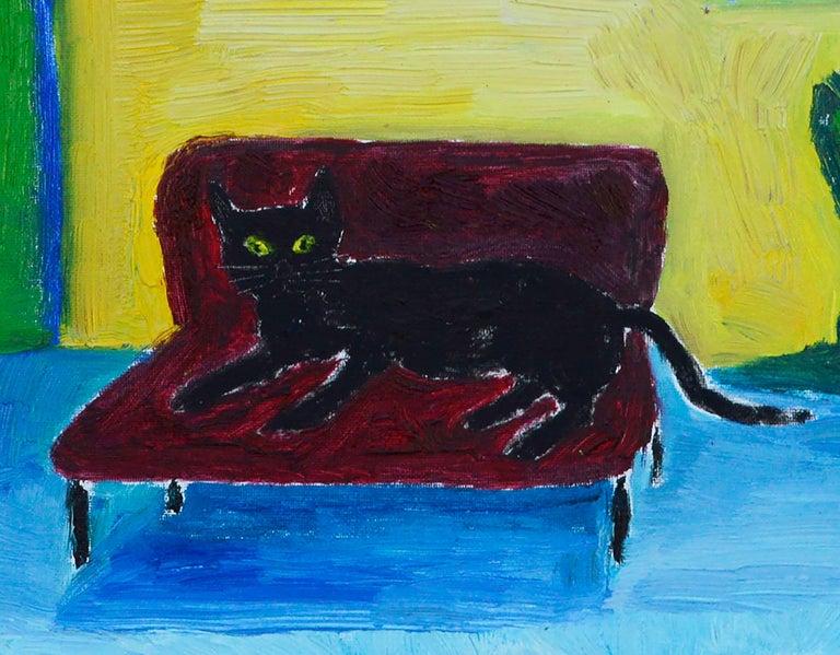 Red Couch, Black Cat - Fauvist Interior Scene  For Sale 1