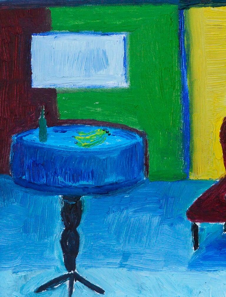 Red Couch, Black Cat - Fauvist Interior Scene  For Sale 2
