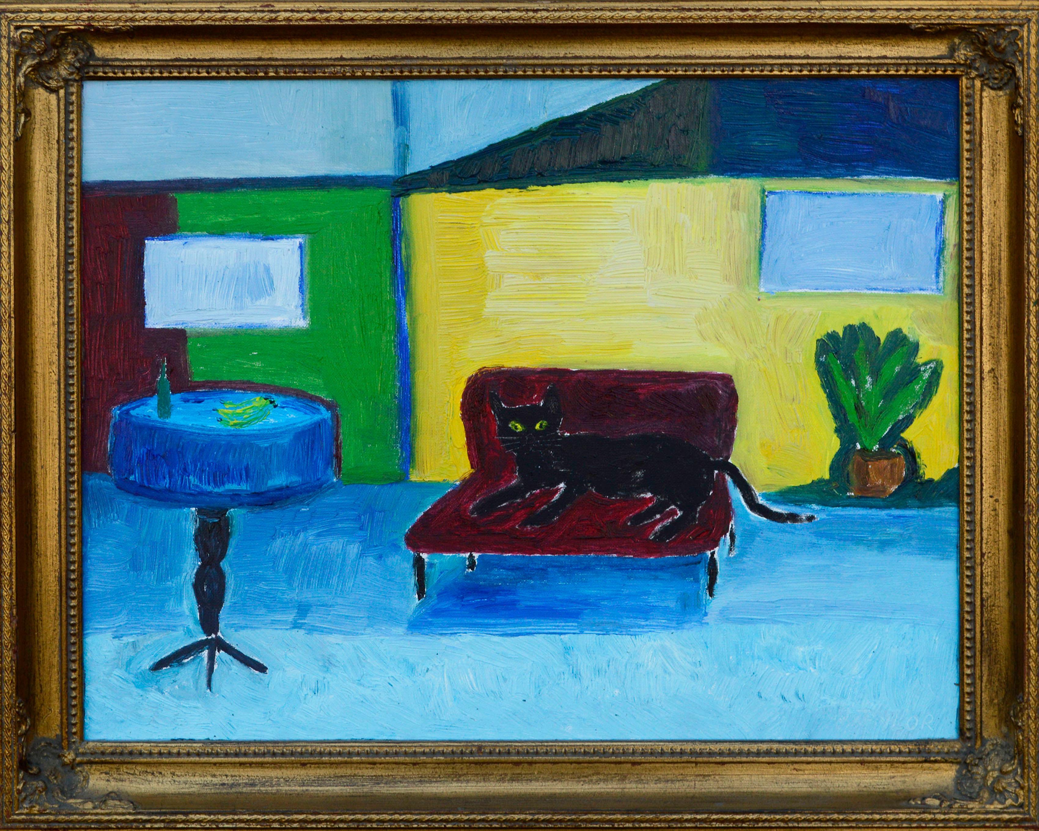 Red Couch, Black Cat - Fauvist Interior Scene
