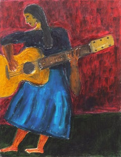 'Woman Playing Guitar', California Post Impressionist oil, Moss Landing