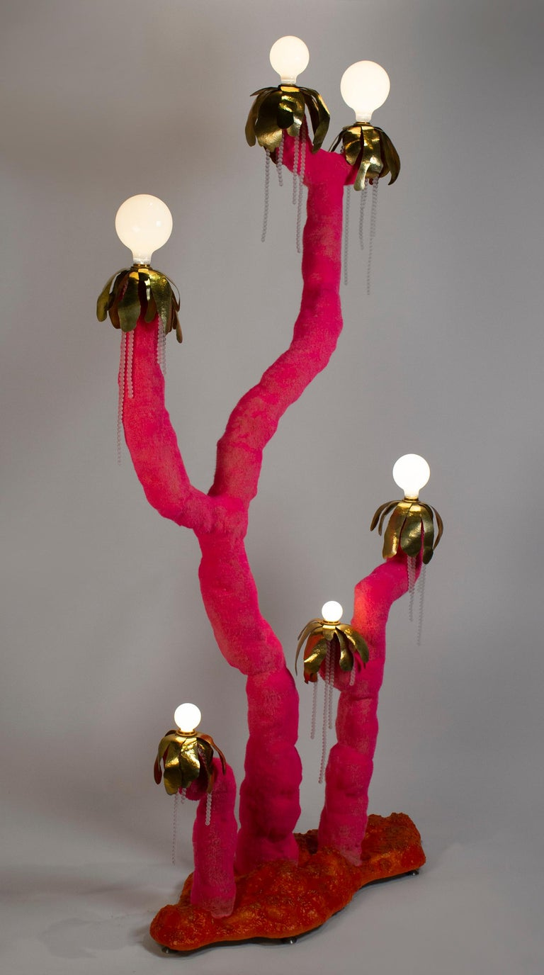 English Jonathan Trayte Floor Lamp 'Pink Hot Solar Buzzer Number 2' Custom Contemporary For Sale
