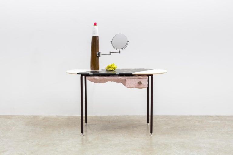 British Jonathan Trayte, Pink Mondi w/ Bomba Lamp, Dressing Table, Marble, Granite, 2018 For Sale