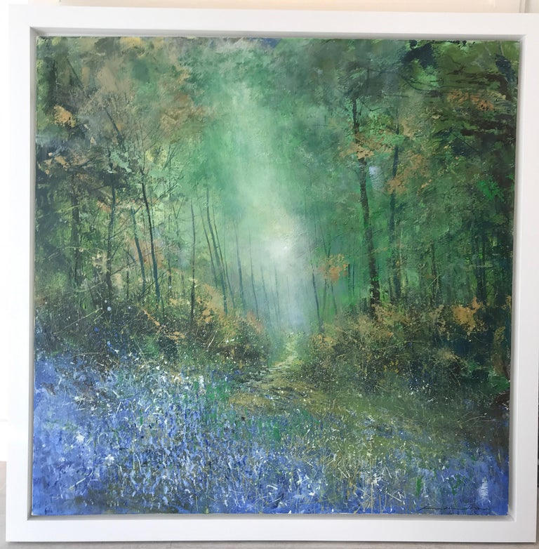 Bluebells Forest original landscape painting Contemporary 21st Century Art - Painting by Jonathan Trim