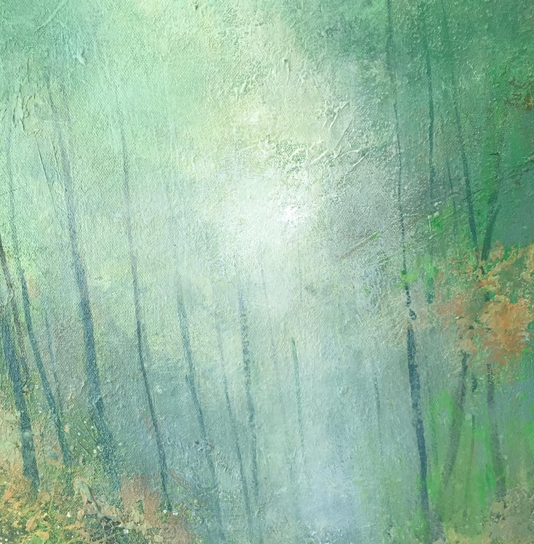Bluebells Forest original landscape painting Contemporary 21st Century Art - Abstract Impressionist Painting by Jonathan Trim