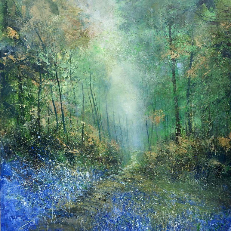 Jonathan Trim Abstract Painting - Bluebells Forest original landscape painting Contemporary 21st Century Art