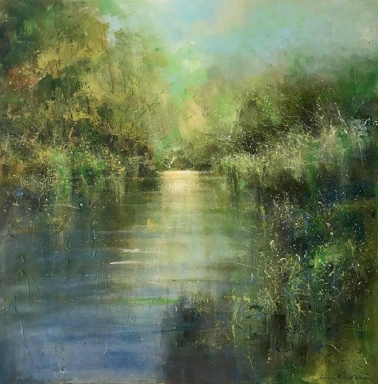 Calm evening on the river original landscape painting