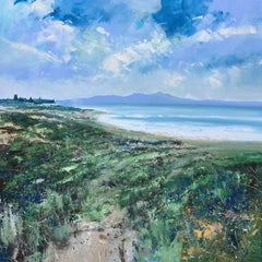 Clouds looming at the beach original seascape painting Contemporary Art