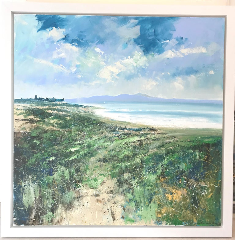 The original painting by Jonathan Trim is framed and ready to be displayed. It consists of mostly blue and green hues, which evoke the feeling of crispness and fresh air that accompanies being by the seaside.   Jonathan studied Art at Southend