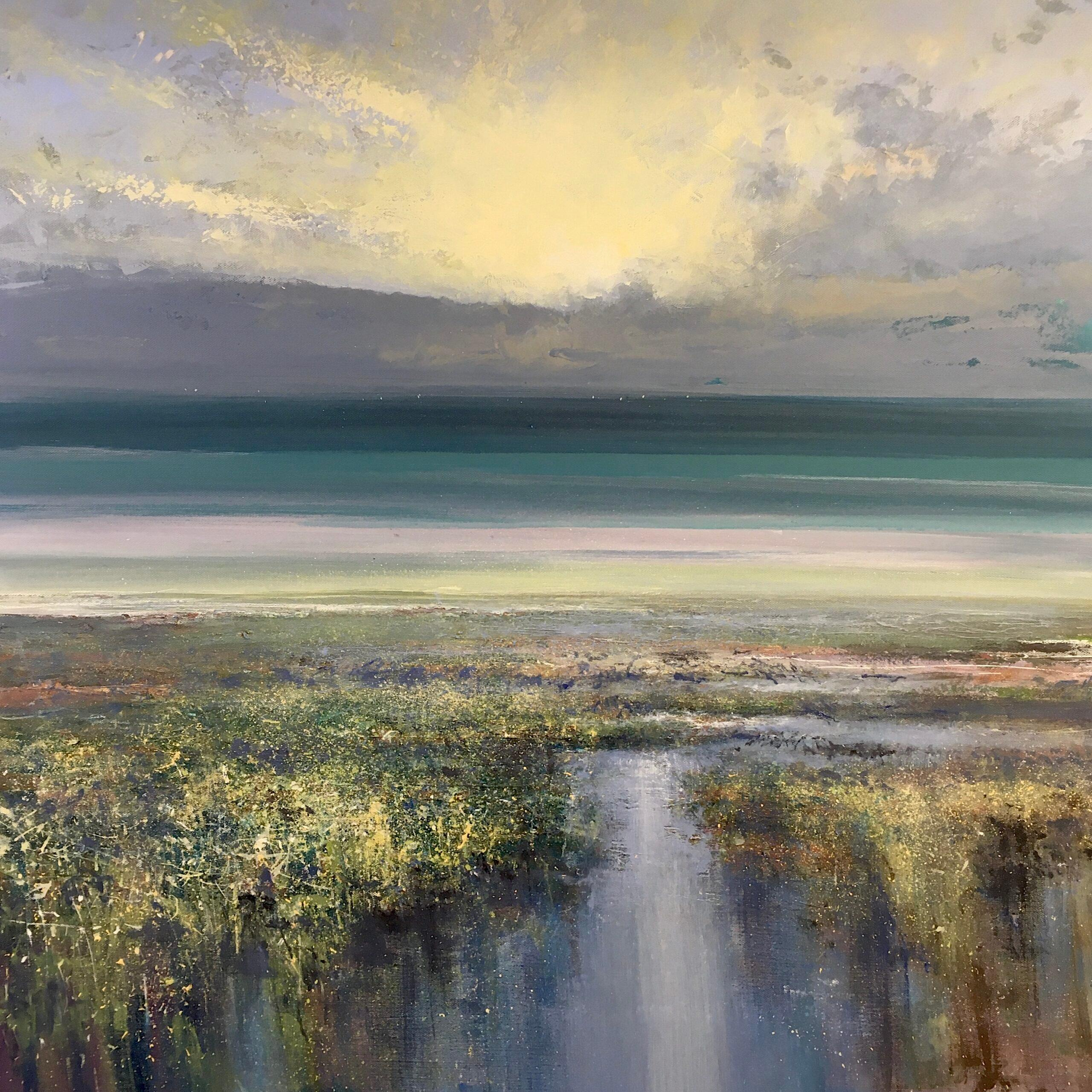 Estuary Evening - water seascape painting Contemporary 21st C modern art sky