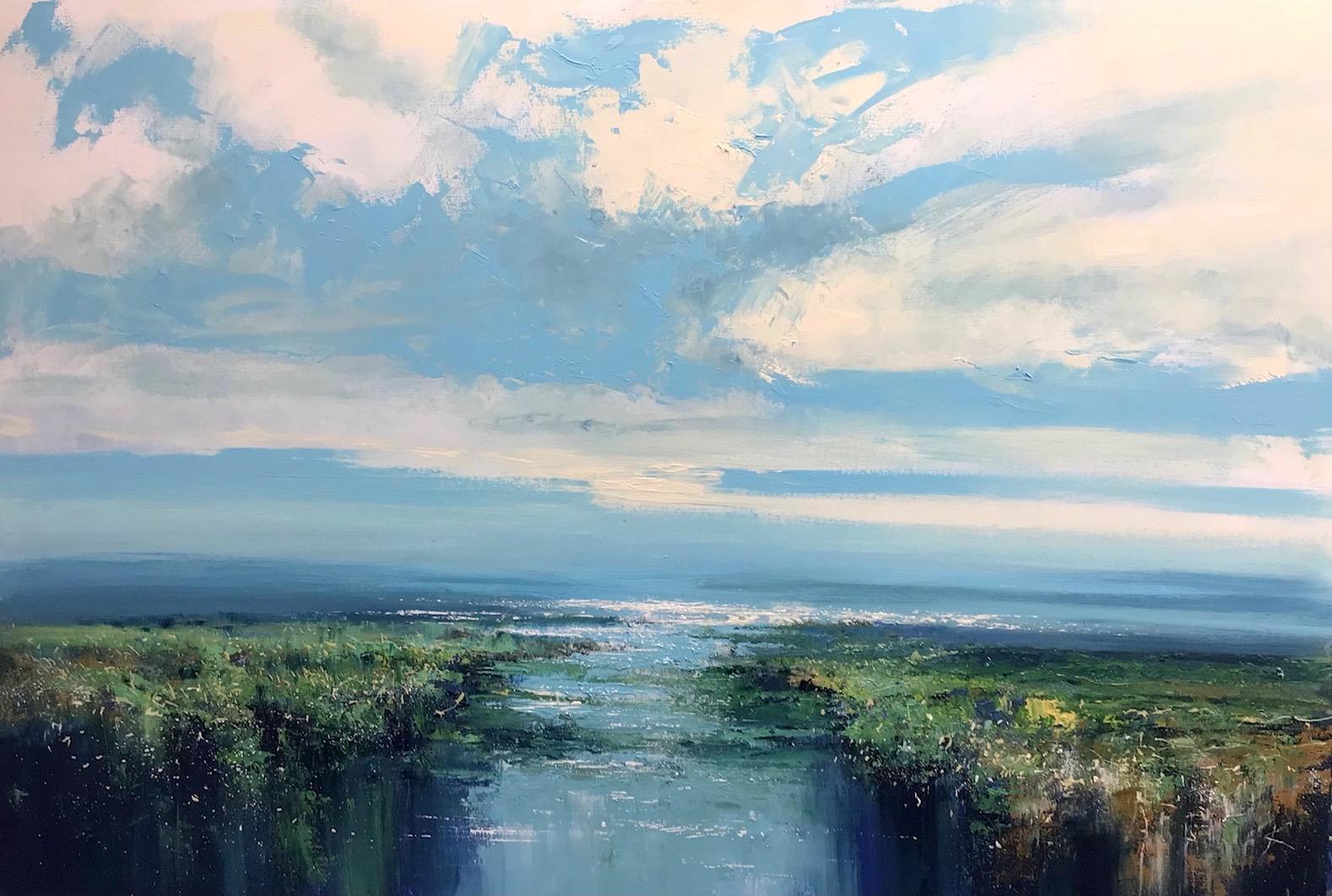 First Light - landscape coast painting Contemporary 21st C Modern Art sky water
