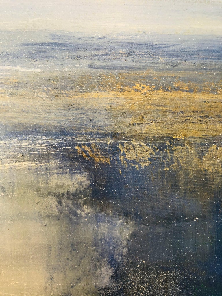 The original painting by Jonathan Trim is framed and ready to be displayed.  It is done predominantly in shades of blue and gold acrylic paints. The subtle incorporation of gold compliments the other colours, making the painting aesthetically
