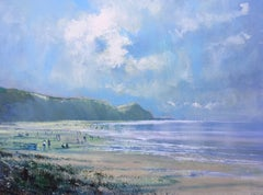 High Summer Charnmouth, seascape painting, painting of Charnmouth, mixed media
