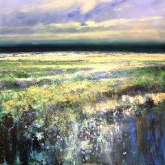 Jonathan Trim, Norfolk Lavender, Original Landscape Painting, Affordable Art