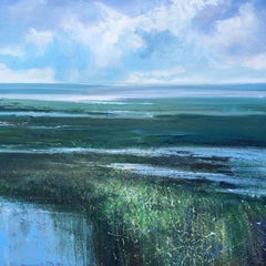 Low Tide, Jonathan Trim, Seascape, mixed media, Blue, Marshland, sea, sky, green