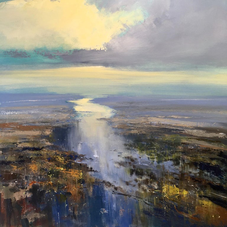 Jonathan Trim Abstract Painting - Stillness of the Estuary - seascape painting Contemporary 21st C modern art