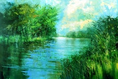 The Thames at Richmond - landscape painting Contemporary 21st C Modern Art water