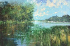 The Thames at Richmond - London abstract landscape acrylic painting Contemporary