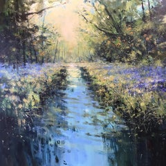 Woodland Stream - original landscape painting Contemporary 21st C Modern Art