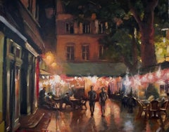 Summer Night in Aix en Provence, Oil Painting