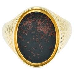 Jones & Woodland Retro Bloodstone 14 Karat Hammered Gold Unisex Signet Ring