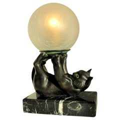 Jongleur Table Lamp of a Cat with a Glass Ball by Janle and Max Le Verrier