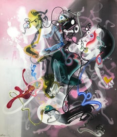 Nirvana, pink and gray abstract painting