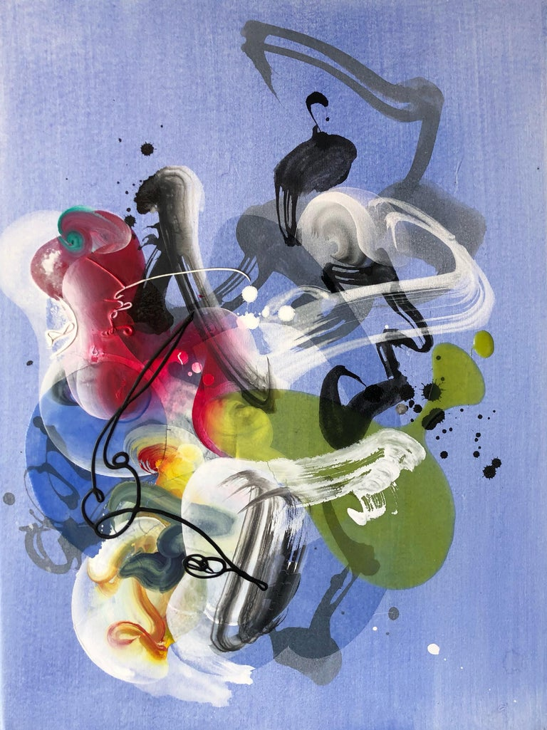 Samurai, purple and green abstract painting - Mixed Media Art by Jongwang Lee