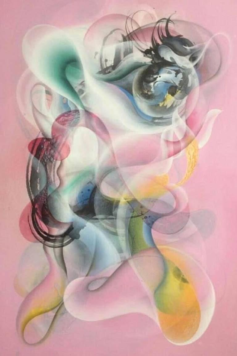 Jongwang Lee Abstract Painting - Fatima Wafa, acrylic, resin, and sumi ink on canvas over panel, 72 x 48 inches.