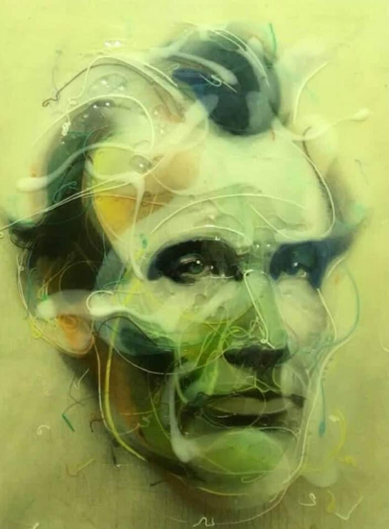 Lincoln 1860, acrylic, resin, and sumi ink on canvas over panel, 36 x 24 inches.