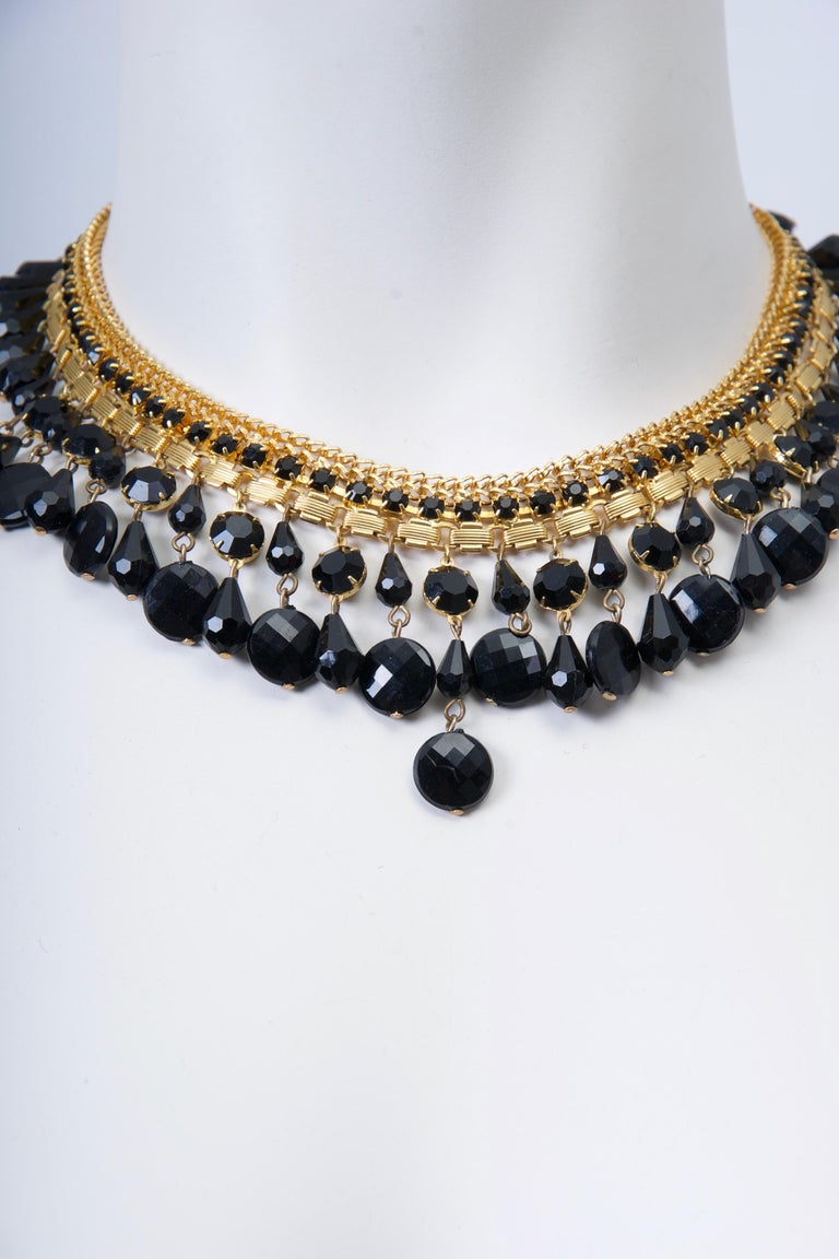 Retro Jonné Bib Necklace with Black Beads For Sale