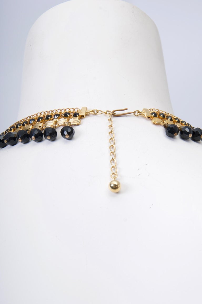 Jonné Bib Necklace with Black Beads In Excellent Condition For Sale In Alford, MA