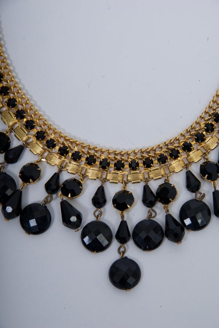 Women's Jonné Bib Necklace with Black Beads For Sale