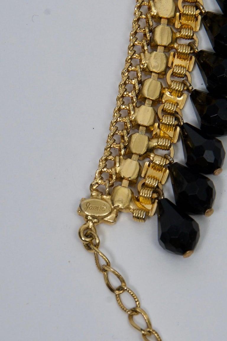 Jonné Bib Necklace with Black Beads For Sale 2