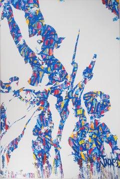 Street Art : Liberty (after Delacroix) - Original screen print on canvas - Tall