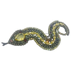 Jonquil Czech and Black Diamond Austrian Crystal Snake Brooch