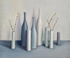 Jonquil Williamson, Bottles and Cylinders with Cherry Blossom Twigs