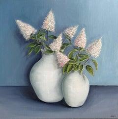 White Pots with Hydrangea Paniculata