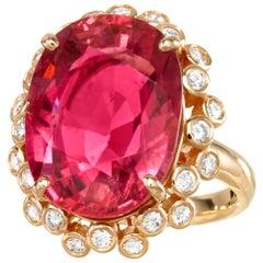 18 Karat Yellow Gold 14.05 Carat Rubellite Tourmaline Diamond Cocktail Ring