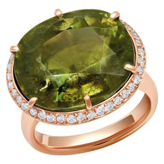 18 Karat Rose Gold 18.92 Carats Sphene Diamond Solitaire Cocktail Ring