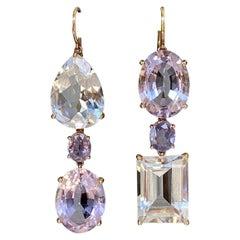 Joon Han Amethyst Sapphire White Topaz 18 Karat Yellow Gold Dangle Earrings