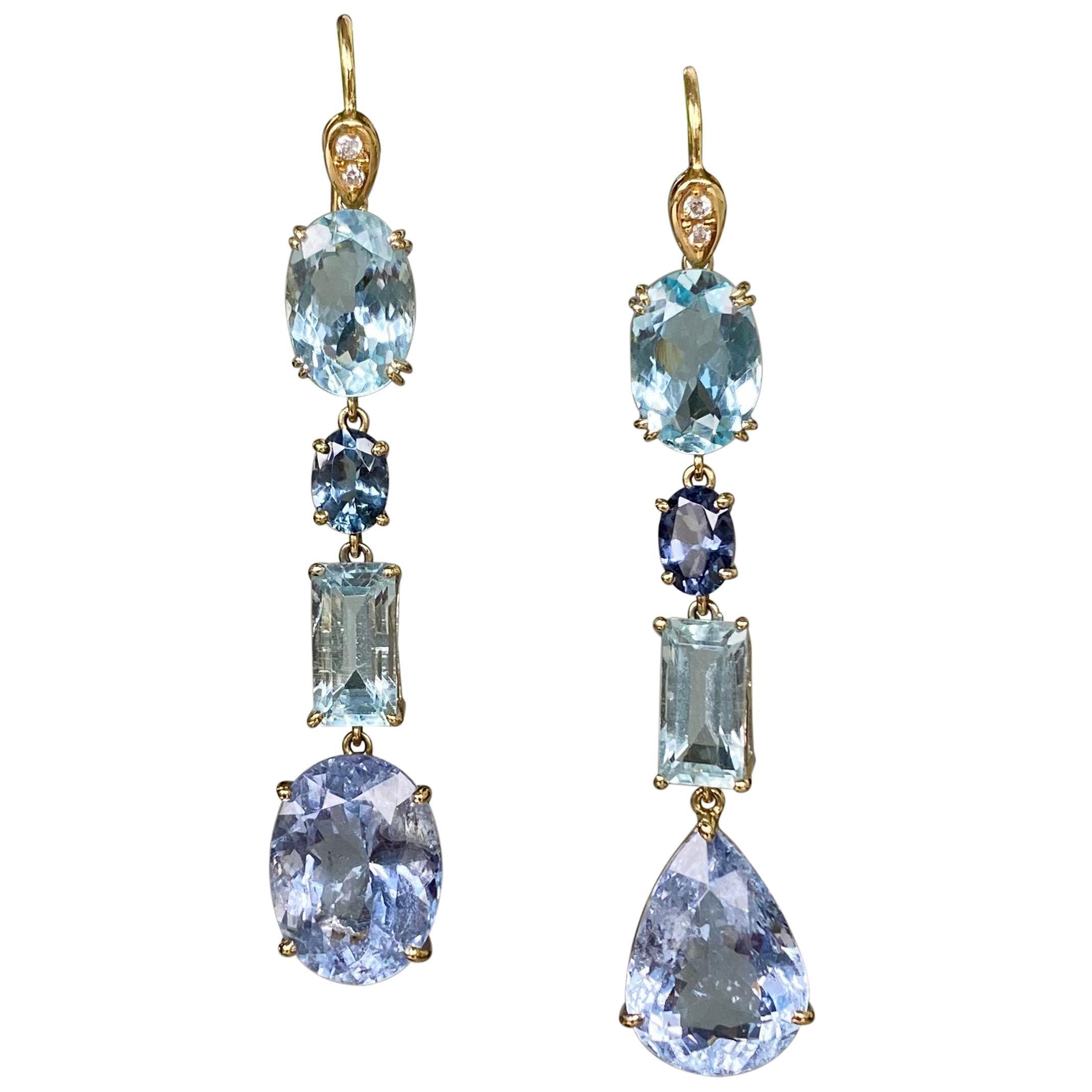18 Karat Yellow Gold Aquamarine Blue Beryl Sapphire Diamond Drop Dangle Earrings