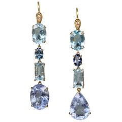 Joon Han Aquamarine Blue Beryl Sapphire Diamond 18 Karat Gold Dangle Earrings