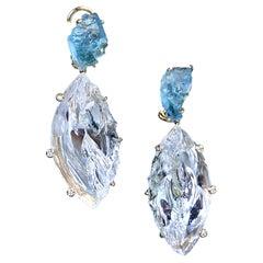 18 Karat Yellow Gold Aquamarine Carved White Quartz Diamond Dangle Earrings