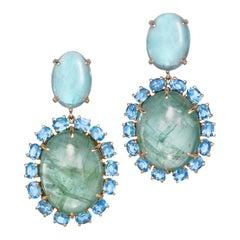 18 Karat Rose Gold Aquamarine Green Beryl Blue Topaz Drop Dangle Earrings