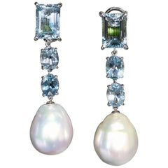Baroque South Sea Pearl Aquamarine 18 Karat Gold Long Drop Dangle Earrings