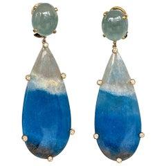 Joon Han Aquamarine Cabochon Quartz Diamond 18 Karat Gold Drop Dangle Earrings