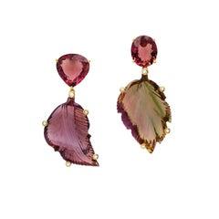 18 Karat Yellow Gold Carved Bicolor Tourmaline Diamond Drop Dangle Earrings