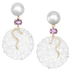 18 Karat Yellow Gold Carved White Jade South Sea Pearl Spinel Diamond Earrings